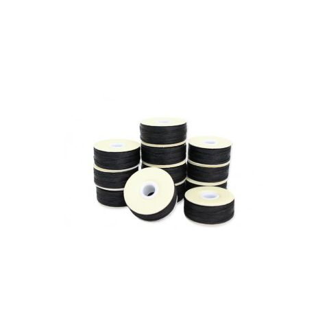 Prewound M-Style Bobbins -  Bonded Nylon #69 Black