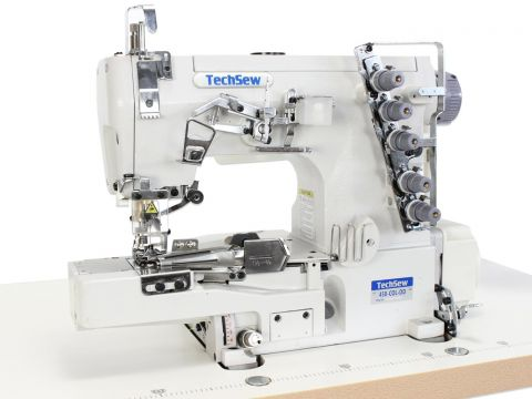 Techsew T450-COL Cylinder Coverstitch Industrial Sewing Machine with Collarette Attachment and Direct Drive Motor